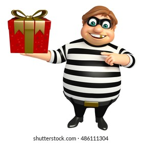 3d rendered illustration of Thief with Giftbox