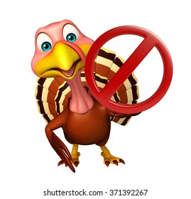 3d rendered illustration of Turkey cartoon character with stop sign