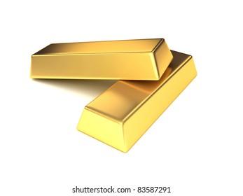 3d rendered illustration of two gold bars