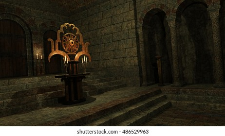 3D rendered illustration of underground mystic temple