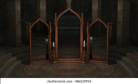 3D rendered illustration of underground mystical room with mirrors