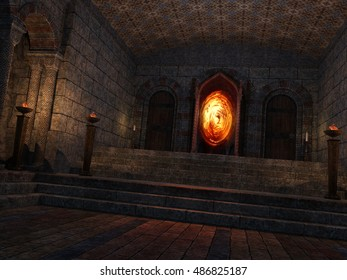3D rendered illustration of underground mystical temple with portal