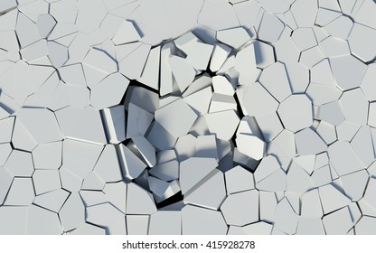 3D rendered illustration of white damage surface, cracked texture.