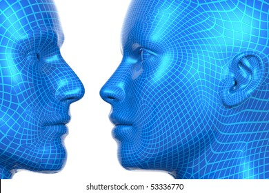 3D rendered illustration of wireframed heads, male and female, looking at each other
