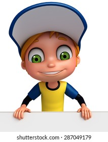 3d rendered illustration of young boy with sign
