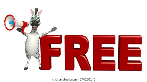 3d rendered illustration of Zebra cartoon character with free sign
