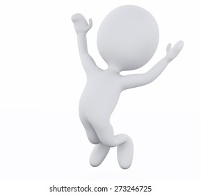 3d rendered image. White people jumping by happy. Isolated white background