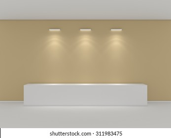 3d rendered interior composition of exhibition space.