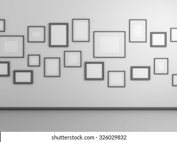 3d rendered  interior composition with pictures on wall.