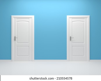 3d rendered interior composition with two white doors.