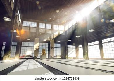3d rendered karate school dojo background