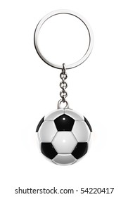 3d rendered keychain with soccer ball on white background