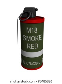 3D Rendered M18 Red Smoke Grenade on a White Background