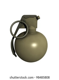 3D Rendered M67 Grenade on a White Background