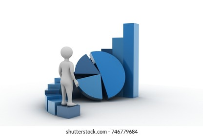 3d rendered man standing  the business graph on white background