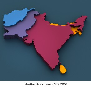 3D rendered map of India, Afghanistan and Pakistan