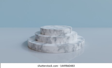 3d rendered minimal podium background - Abstract, 3d rendered blue background with marble podium