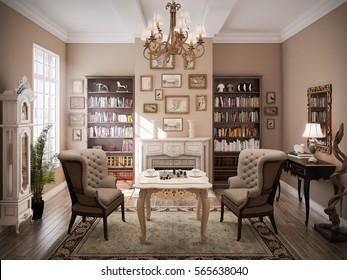 3D Rendered Modern Classic Living Room Interior Design