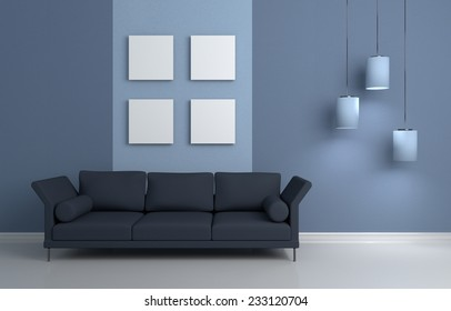 3d rendered modern interior composition with sofa and pictures on wall.