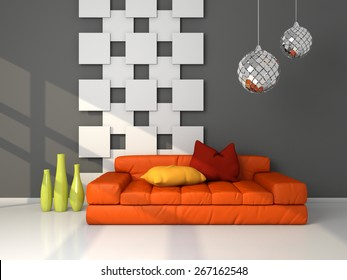 3d rendered modern interior composition with couch and decorations.