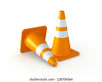 3D Rendered Orange Traffic Cones on White Background