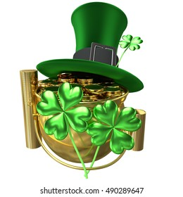 3D rendered pot of gold with golden coins and green hat