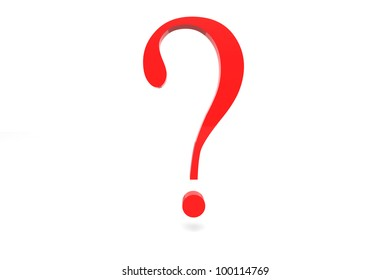 3d rendered question mark in bright red