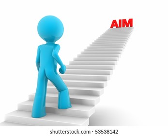 3d rendered red man walks upstairs; stairs with a 'aim' word on the top