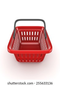3d rendered shopping basket isolated on white background.