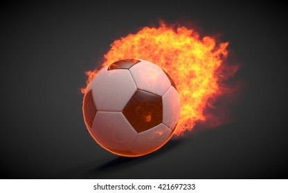 3D rendered soccer ball in fire on black background.