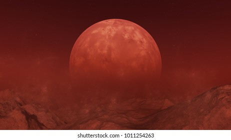 3d rendered Space Art: Red Alien Planet - A Fantasy Landscape