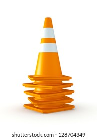 3D Rendered Stack of Orange Traffic Cones on White Background