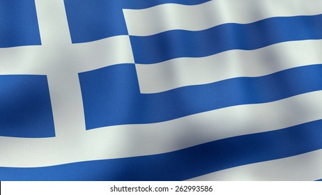 A 3D rendered still of a Greek flag, waving and rippling in the wind.