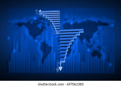 3d rendered success and crisis financial bar chart in color background