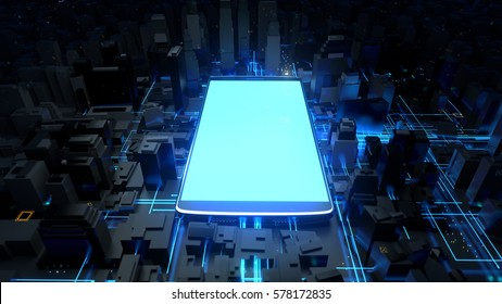 3d rendered technology background. Giant cellphone is in the center of city. Mobile phone generating a lot of energy waves. Interrelation of digital and modern life concept.