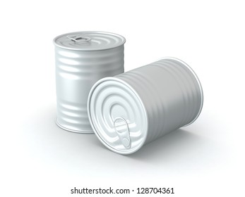 3D Rendered Tin Cans on White Background