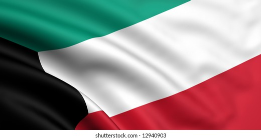 3d rendered and waving flag of kuwait