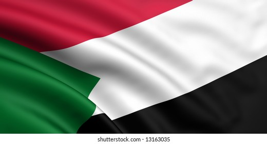 3d rendered and waving flag of sudan