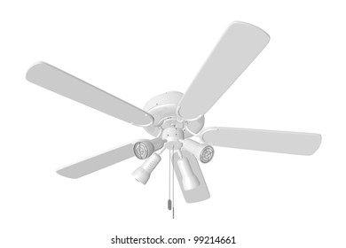 3D Rendered White Ceiling Fan on a White Background