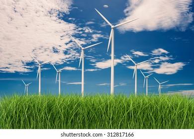 3d rendered wind turbines in grass field