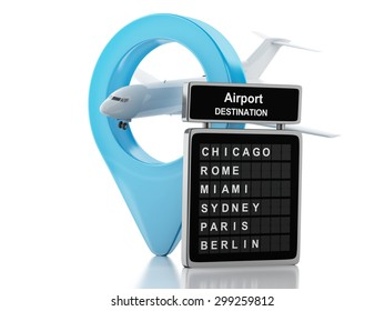 3d renderer image. Airport board and airport pointer. Airline travel concept. Isolated white background