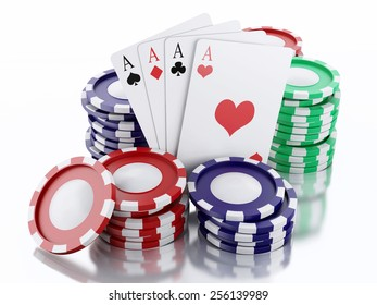 3d renderer image. Casino tokens and Playing Cards. Casino concept, Isolated white background