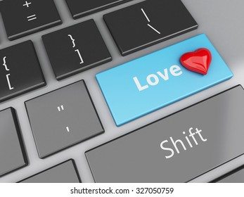 3d renderer image. Computer keyboard with Love button and heart. Find Love concept.