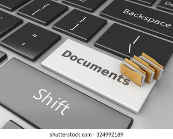 3d renderer image. Folders on the computer keyboard. Documents concept.