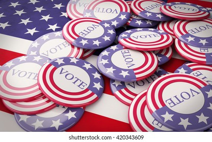 3D renderer image. llustration of presidential campaign pins. Isolated white background.
