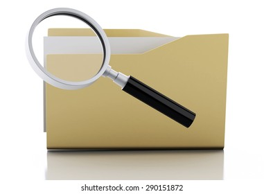 3d renderer image. Magnifier glass examine yellow folder. Search Documents Concept. Isolated white background