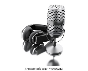 3d renderer image. A microphone with black headphones. Audio recording concept. Isolated white background.