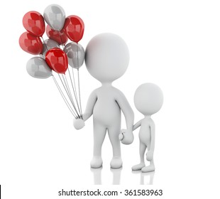 3d renderer image. Parents with children and balloons. Family concept. Isolated white background