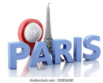 3d renderer image. Paris word with eiffel tower. Isolated white background