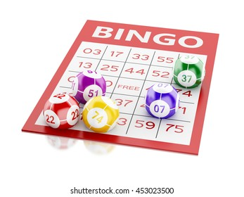 3d renderer image. Red bingo card with colorful balls. Isolated white background.